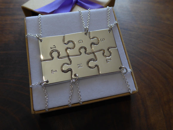 Six Best Friends Necklaces, Handmade Puzzle Pendants with Initials