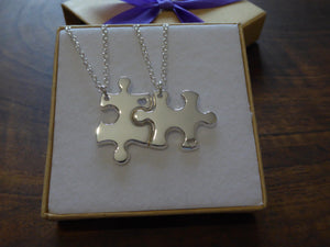 Silver Best Friend Puzzle Pendants