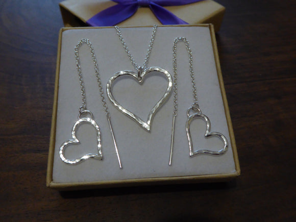 Heart Threader Earrings and Necklace
