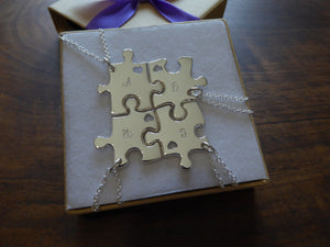 Four Best Friend Puzzle Necklaces