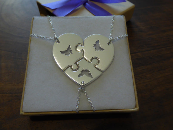 Best Friend Puzzle Necklaces with Butterflies