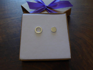 Disc Stud Earrings, Silver Ring Earrings