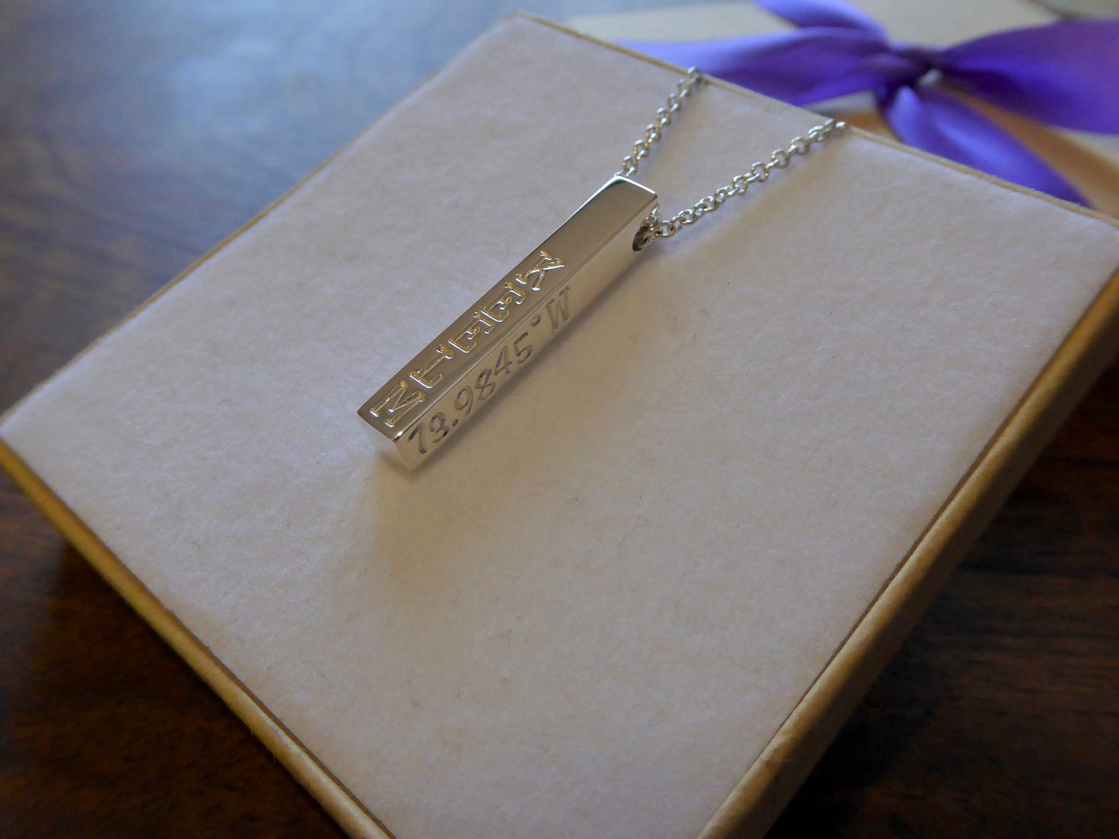 Silver Bar Name Necklace, Personalised Name Necklace