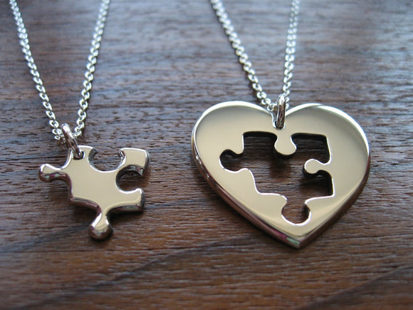 Silver Best Friend Puzzle and Heart Necklace