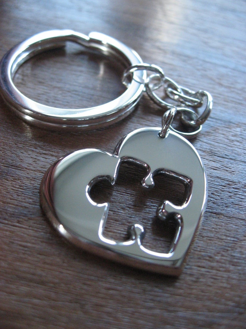 Silver Heart with Puzzle Cut Out Keychain Keyring