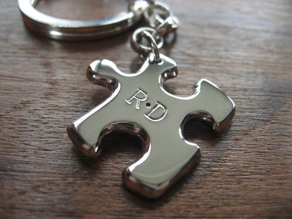 Silver Puzzle Piece Keychain Keyring with Initials