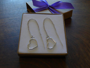 Silver Heart Threader Earrings