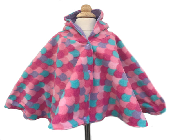 Mermaid Scales Hooded Fleece Poncho - Lil' Bayou Boutique