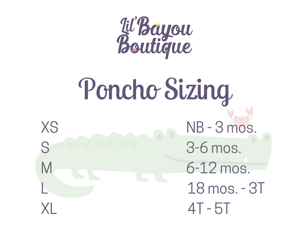 Sizing Chart for Car Seat Ponchos - Lil Bayou Boutique