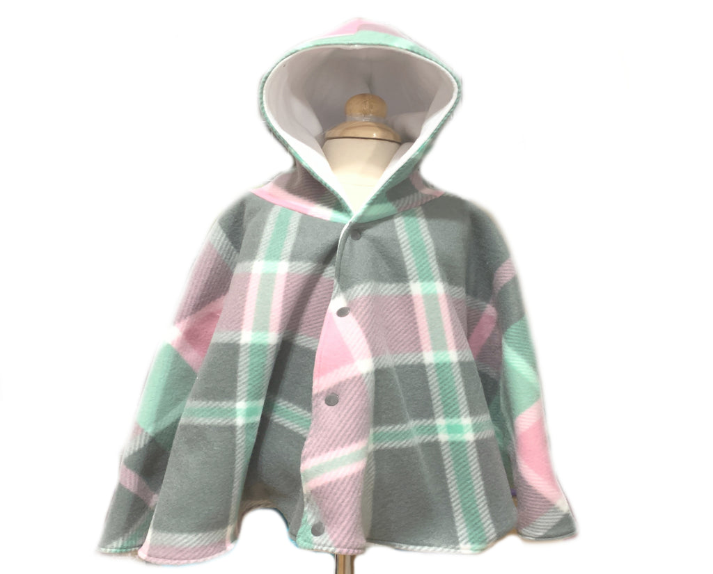 Girl's Plaid Car Seat Poncho - Lil Bayou Boutique