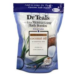 Dr Teal's Ultra Moisturizing Bath Bombs Five (5) 1.6 oz Moisture Rejuvinating Bath Bombs with Coconut oil, Essential Oils, Jojoba Oil, Sunfower Oil for Unisex