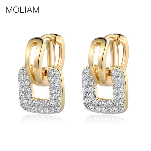 MOLIAM Small Zirconia Crystal Stone Hoop Earrings - Gold or Silver Plated