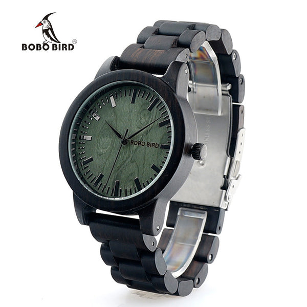 BOBO BIRD Ebony Wooden Quartz Mens Designer Watch