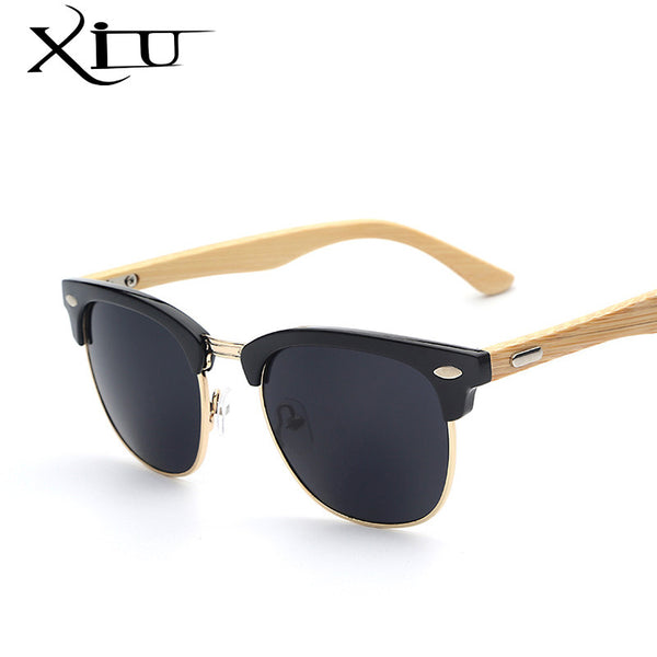 XIU Italian Designed Half Metal Bamboo Sunglasses - Assorted Frame Colours