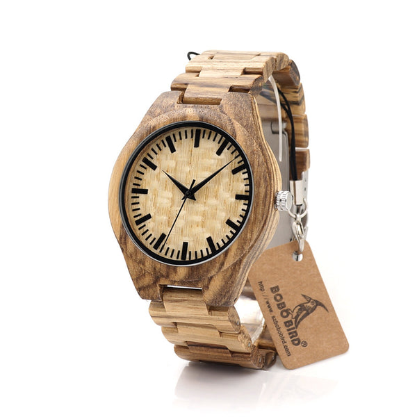 BOBO BIRD Handmade Bamboo Wood Mens Quartz Watch