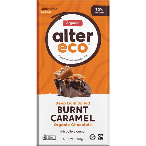 Deep Dark Salted Burnt Caramel Chocolate Bar Certified Organic