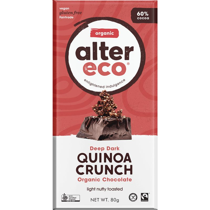 Deep Dark Quinoa Crunch Chocolate Bar Certified Organic