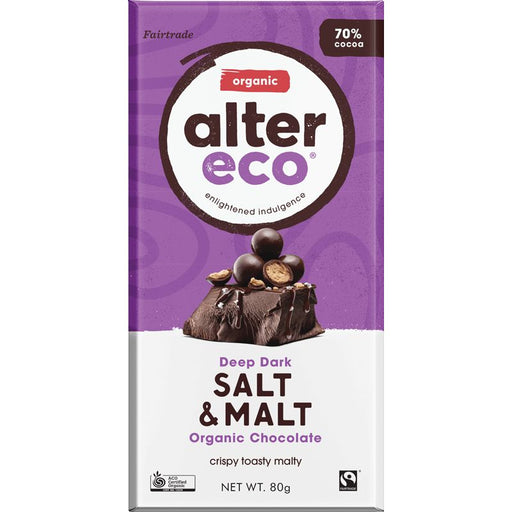 Deep Dark Salt & Malt Chocolate Bar Certified Organic