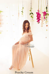 Peachy Cream Anna Multiway Maternity Gown
