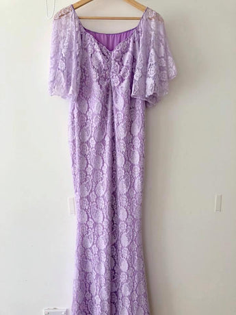 CLEARANCE Camila - Boho Sleeve Lace Maternity Gown - Lilac SMALL
