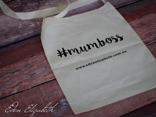 '#mumboss' Calico Shoulder Shopping Bag