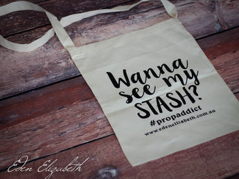 'Wanna see my Stash?' Calico Shoulder Shopping Bag
