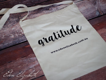 Gratitude - Calico Shoulder Shopping Bag