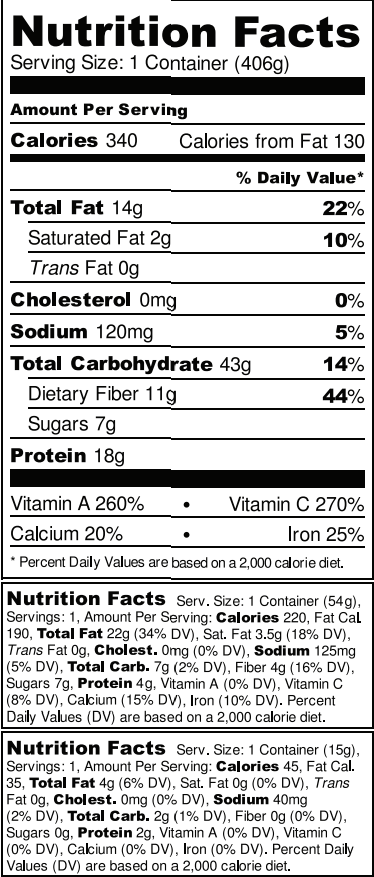 BioRaw The FIESTA Nutrition Facts