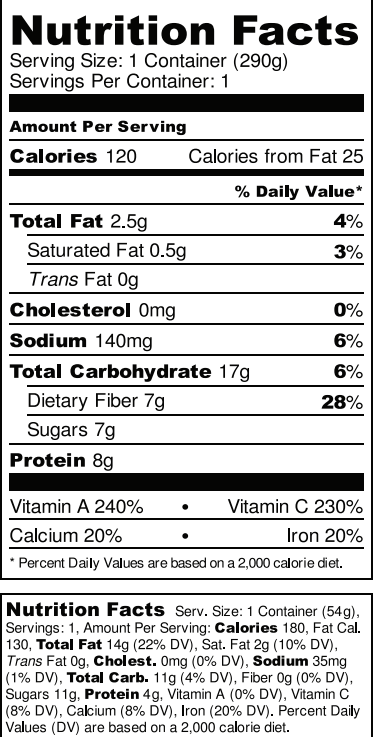 BioRaw The NINJA Nutrition Facts