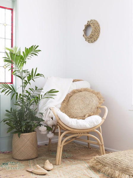 Raffia Cushion Cover - Round
