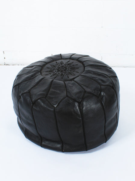 Round Moroccan Leather Ottomans
