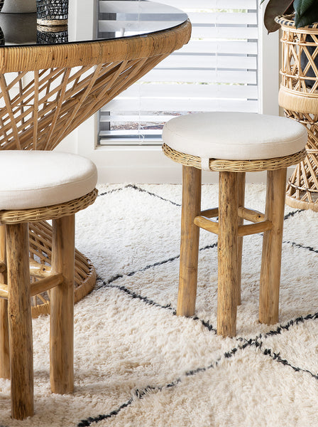 Drift wooden & Rattan stool w/cushion
