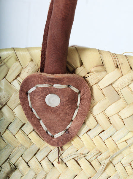Moroccan Grass basket leather handles