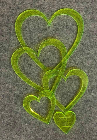 5 Nested Curved Hearts Quilting Template