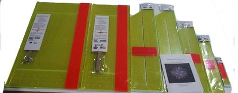"Set of 7 Rulers 1 1/2"", 2 1/2"",  3 1/2"", 4 1/2"" and the 6"" AQSR with the <b><u>10 AQSR </b></u> Quilting Acrylic Plastic Strip Ruler 90 degree or 45 degree and 1 Seam Allowance Ruler"