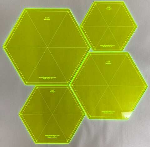 "Hexagon Template Set-Medium (5 1/2"", 6 1/2"", 7 1/2"", 8 1/2"")"