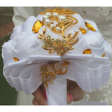 Bouquets Silk Bridesmaid Gold Crystal custom made # 0039