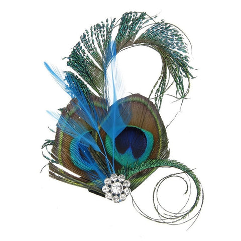 Peacock Feather Dish Hair Clip # 0044