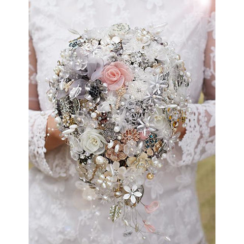 custom  bouquets pearl butterfly keys silver leaves  # 0070