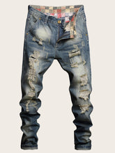 Load image into Gallery viewer, Men Pocket Zip Waist Washed Jeans