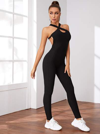 SH512 Criss Cross Backless Halter Sports Jumpsuit