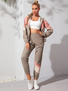 SH5013 Color Block Zip Up Sports Jacket & Sports Pants