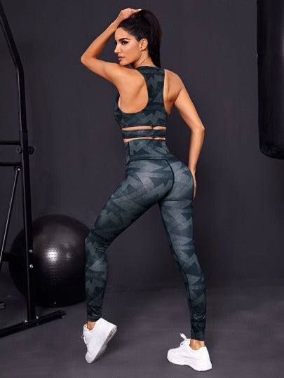 SH508 Geo Print Crossover Sports Bra & Leggings