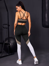 Load image into Gallery viewer, SH501 Color-block Crisscross Back Sports Bra & Leggings