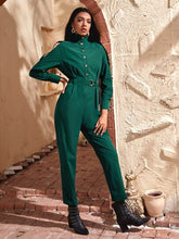 Load image into Gallery viewer, Raglan Sleeve Button Front Belted Shirt Jumpsuit