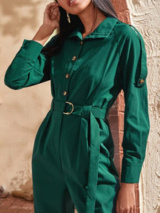 Raglan Sleeve Button Front Belted Shirt Jumpsuit
