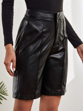 Load image into Gallery viewer, SH301 Solid PU Leather Bermuda Shorts