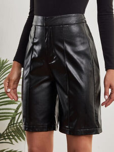 SH301 Solid PU Leather Bermuda Shorts