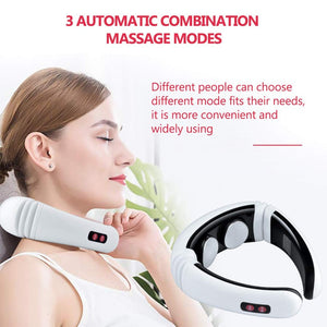 Electric pulse back and neck massager with infra red heating