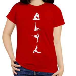 Women O-Neck Yoga Poses T-Shirt